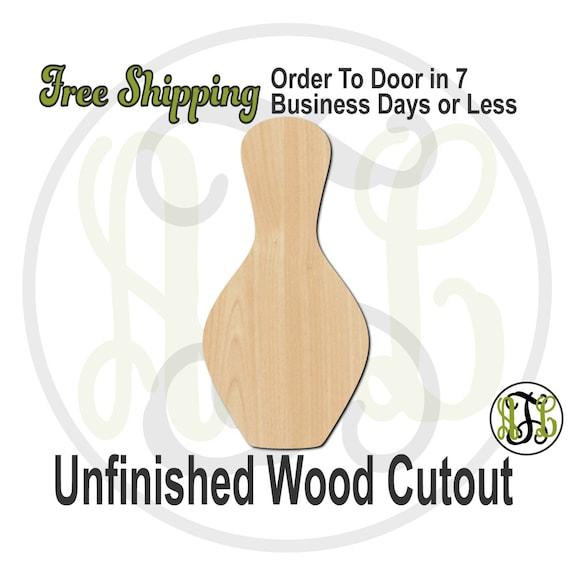 "Bowling Pin- 2"" to 6"" Minis- 60021- Small Wood Cutout, unfinished, wood cutout, wood craft, laser cut, wood cut out, ornament"