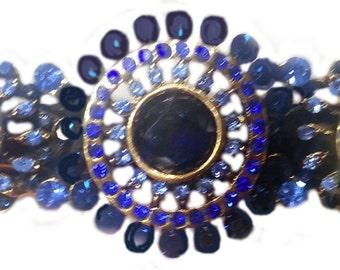 New Royal Blue & Sapphire Crystal 3'' Hair Barrette