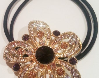 New Gold Floral With Amethyst Crystal 1 1/2'' Ponytail Tie