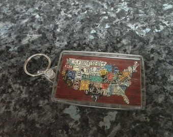 License Plate Map of America Jumbo Keyring. USA. Licence. Americana