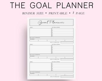 Binder Size Goal Planner, Goal Tracker, Goal Journal, Goal Planning, Planner Goals, DIY Planner, Filofax Binder, Binder Planner,