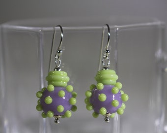 Lavender lampwork bead with lime green raised dots