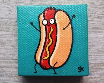 "Hot Dog Painting / Mini Cute Cartoon Food Painting (2"" x 2"")"