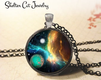 "Nebula with Blue Planet Pendant - 1-1/4"" Round Necklace or Key Ring - Wearable Photo Art Jewelry - Universe, Galaxy, Space, Science Gift"
