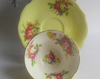 Foley China by E.Brain 3201 Yellow with Flower center Bone China Tea Cup and Saucer - Made in England