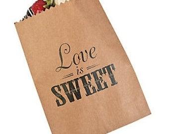 Love is Sweet treat bag, paper bag, wedding candy bar, valentine treat bag, wedding cake bag, wedding candy bag, candy bar, valentines day