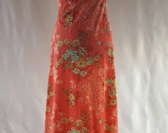 Vintage 70s orange floral maxi dress