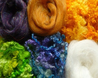 Goody bag of - wool locks - merino glitter - needle felting - Spinning - wet felting - effects fibres - Bluefaced Leicester -dolls hair.