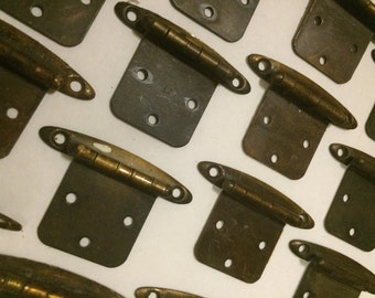 33 Vintage Hardware - Aged Brass Tone Cabinet Hinges and Screws