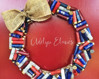 Red, White & Blue Empty 12 Gauge Shotgun Shell Country Hunting Wreath Decor with Burlap Bow Patriotic