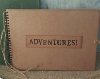 Rustic vintage style Kraft card ADVENTURES scrapbook memory album adventure book travel journal keepsake