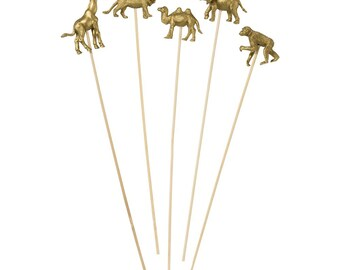 Gold Party Animals on Sticks