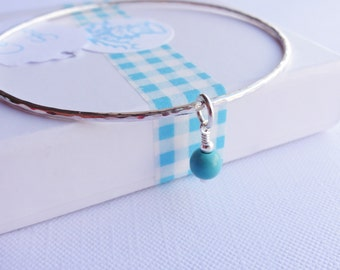 Sterling Silver Stacking Bangle with a Turquoise Charm - Choose Size and Thickness