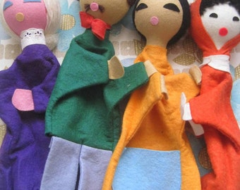 4 Vintage 1970s Hand Puppets