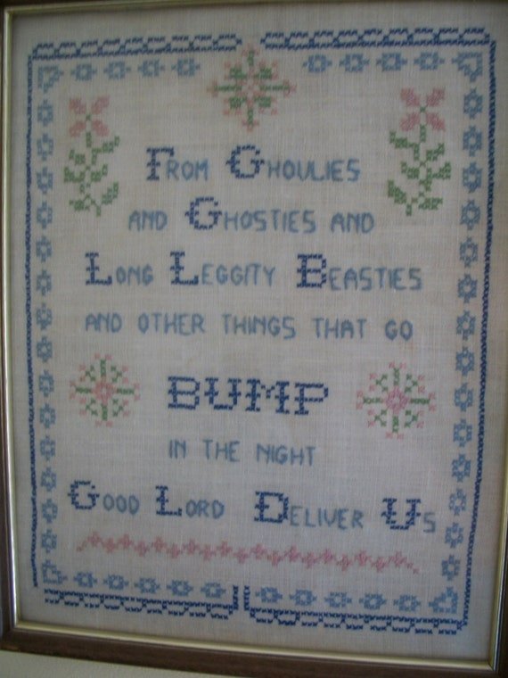 Ghoulies And Ghosties Cross Stitch Sampler