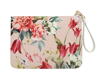 Floral Clutch - Watercolor Floral Clutch - Leather Clutch - Floral Print - Women handbag with luxury gold zipper |KHG-051-Perfcase