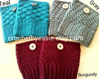 Crochet Boot Cuffs = 3 Choices