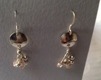 Small circles sterling silver dandle earrings with small silver and glass beads