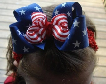 Patriotic USA hair bow headband Red White Blue 4th of July Memorial day 4 inch grosgrain American flag 5 inch boutique Cici's