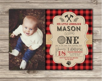 Photo Birthday Invitations Boy First Birthday LumberJack Woodland Lumber jack Buffalo Plaid Outdoors Party forest Animals One Timber NV6314