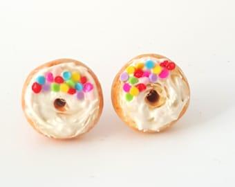 Miniature Rainbow Sprinkles Cream Donut Earrings