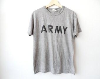 Vintage Army t shirt Gray Heather 50/50 Medium Size