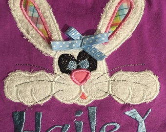 Easter bunny personalized shirt for girls, babys, and toddlers trendy applique on front and back. Handmade