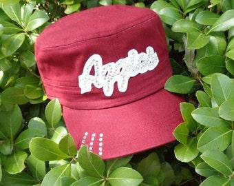 Texas A&M AGGIES Baseball Cap Hat Bling Maroon Cadet Cap Military
