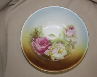 Antique Bowl OC Germany, White and Pink Roses, Gold Rim