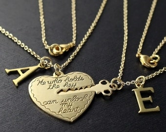 valentines day gift, boyfriend girlfriend gift, He who holds the key gold, heart key necklace, his and her necklace,  2 necklaces ON SALE