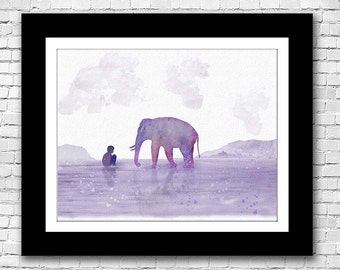 Elephant and Boy Watercolor Painting - Buy 2 get one Free