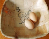CHICKEN laser engraved  NATURAL bowl unique EGG basket / fruit  bowl nik naks  #chicken