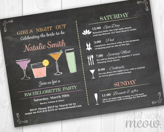 bachelorette invite itinerary girls night out invitation