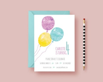 Kids Balloon Birthday Party Invitation—Four Year Old Birthday Invite—Balloons, Watercolor, Yellow, Blue —Printable or Printed—Free Shipping