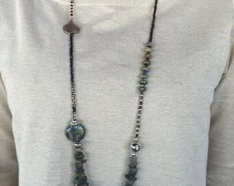 Jasper and jade beaded handmade necklace, boho style, dark olive colour necklace