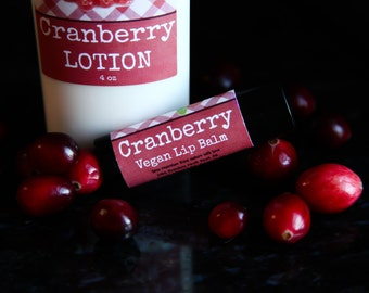 Cranberry Vegan Lip Balm// Cranberry Lip Balm//Vegan Lip Balm//Flavored Lip Balm//Organic Lip Balm//Natural Lip Balm//Cranberry Flavored
