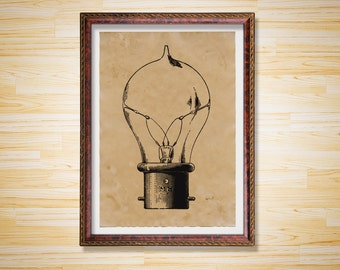 Steampunk print Vintage poster Light bulb decor