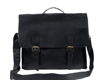 Black Leather Satchel – Messenger Bag – Briefcase –School Bag – by MAHI Leather