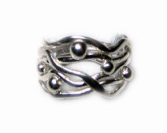 sterling silver cluster ring handmade/handcrafted
