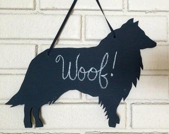 Sheltie Shetland Sheepdog Handmade Chalkboard WallHanging - Dog Shadow Silhouette - Country Decoration - Great Gift