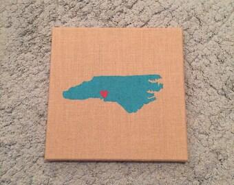 Burlap Canvas - State Painting - North Carolina - State Art and Decor