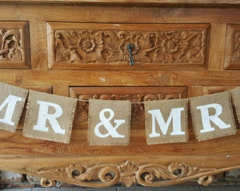 Burlap Mr & Mrs Rustic Wedding Bunting Banner Sign