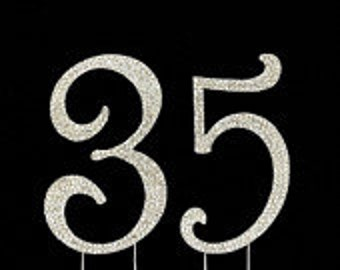 Large Sparkling Silver Rhinestone 35th - 53rd Happy Birthday Cake Topper by Forbes Favors