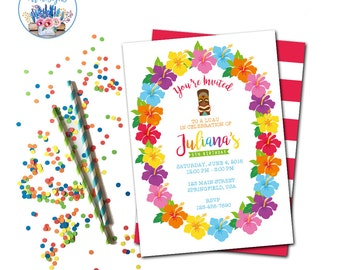 Luau Invitation, Luau Birthday Invitation, Luau Party, Luau Party Invitations