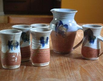 Vintage Signed Bonnema Potters Studio Art Pottery Pitcher Tumblers Mug Rust Brown Beige Gray Blue 1970's Bethel Maine