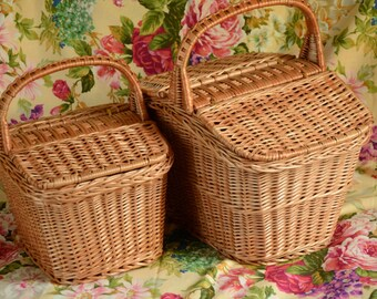 Handmade Wicker Picnic Basket, Handmade Willow Basket, Picnic Wicker Basket, Wicker Basket with Two Lids, Lidded Basket, Market Basket