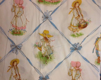 Vintage Holly Hobbie twin Fitted bed Sheet & 1 pillowcase