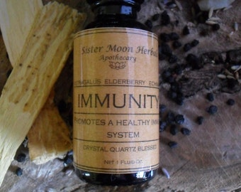 SOLD OUT Immunity - Immune Support Tincture - Elderberry - Echinacea - Astragalus - Triple Defense - 1 oz.  Crystal Blessed
