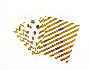 Iridescent Gold Treat Bags in Chevron Dot and Stripe , GoldTreat Bags, Silver Popcorn Glitter Girls Birthday Paper