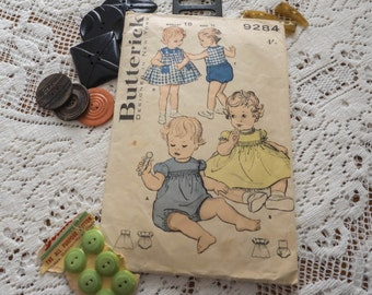 Cute Rare Vintage Butterick Pattern #9284 - Designed in New York - Toddler's Romper and Dress - 1950's - 4/-